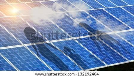 solar park sun clouds family - stock photo