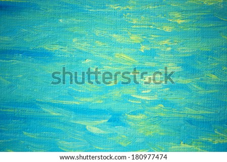 solar patches of light on a sea wave, painting by oil on canvas, illustration - stock photo