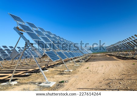Solar photovoltaic cells convert sunlight into electricity. Many solar photovoltaic power stations have been built in Spain. - stock photo