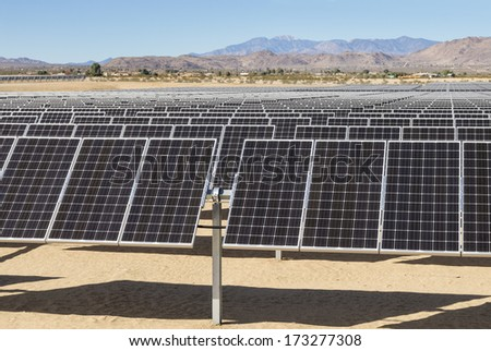 solar photovoltaic electric power plant in the Mojave desert of California - stock photo