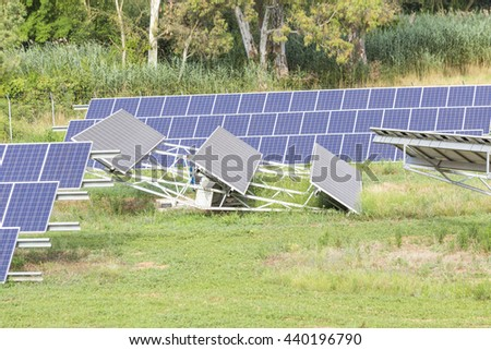 solar photovoltaic panels in the forest