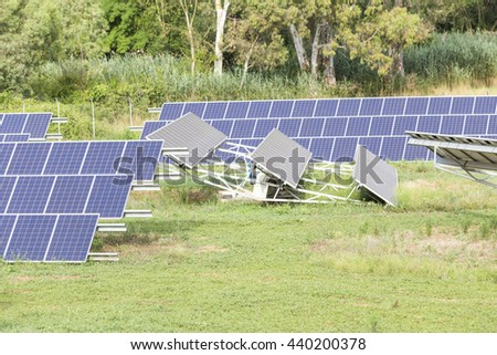 solar photovoltaic panels in the green forest