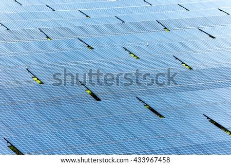 Solar plant many panel for sun power - stock photo