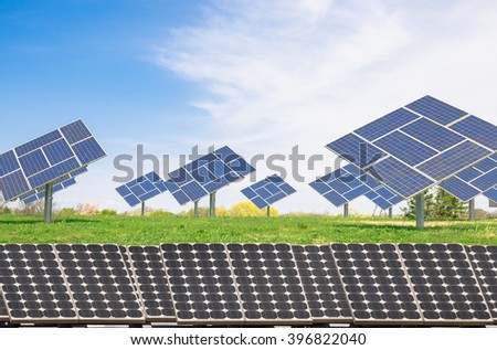 Solar plant on a prairie generating clean electric power - stock photo