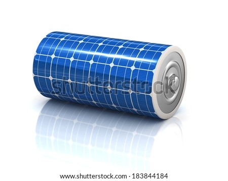 solar power 3d concept - solar panel battery - stock photo