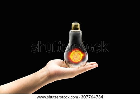 Solar power energy concept idea in isolated background design - stock photo