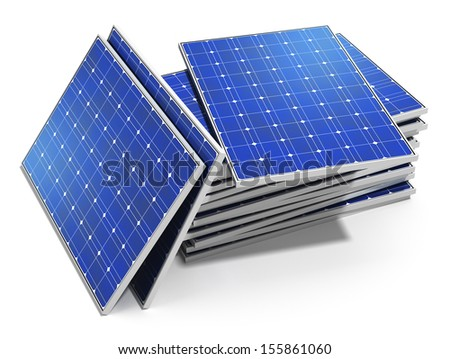 Solar power generation technology, alternative energy and environment protection ecology business concept: group of stacked solar battery panels ready for installing and mounting isolated on white - stock photo
