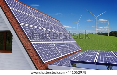 Solar Power House 3d concept, Solar Panels On a Roof, Renewable Energy House, Solar Thermal Energy System, Modern House With Alternative Energy Sourses, Solar Panels House - 3D Rendering - stock photo