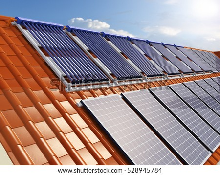 Solar Power House 3d Concept, Solar Panels With Lens Flare, Solar Water  Heating Systems