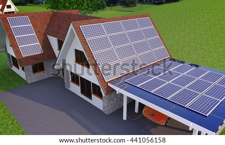 Solar Power House With Parking Place For Electric Car - 3d concept, Solar Panels On a Roof, Renewable Energy House,   House With Alternative Energy Sourses, Solar Panels House - 3D Rendering - stock photo