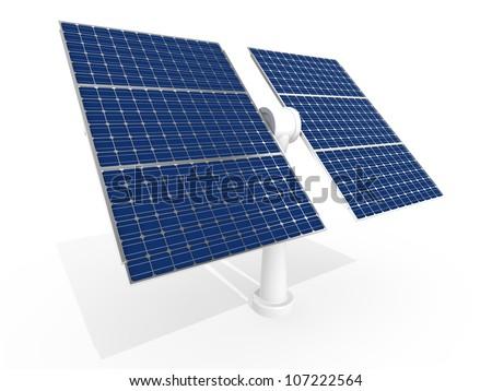 Solar power panel isolated on white background - stock photo