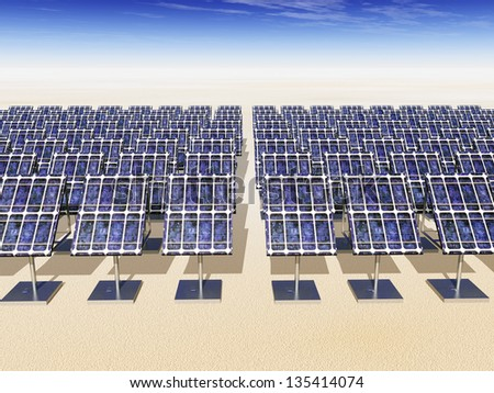 Solar Power Plant Computer generated 3D illustration - stock photo