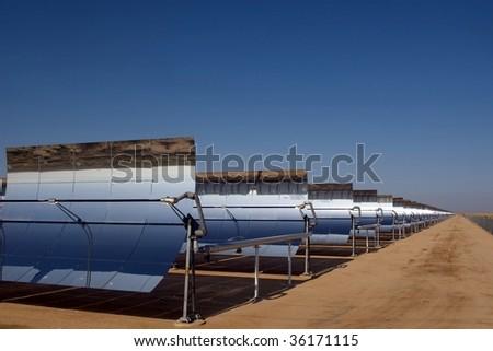 Solar power plant in the Mojave Desert. - stock photo