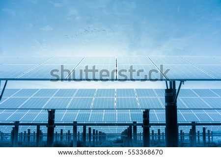 solar power plant, photovoltaic panels in orderly rows