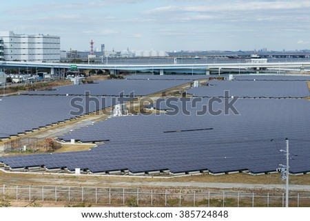 Solar power station in industrial city