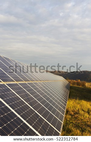 Solar Power Station in the autumn Nature