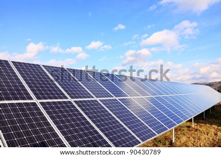 Solar Power Station in the colorful autumn Nature