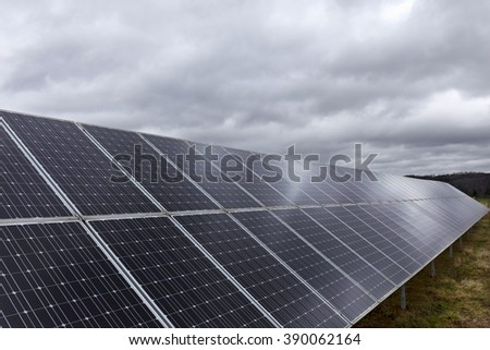Solar Power Station in the dramatically spring Nature