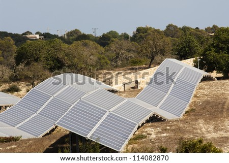 Solar power station in the fields of mallorca/spain - stock photo