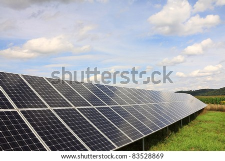 Solar Power Station in the green summer Nature