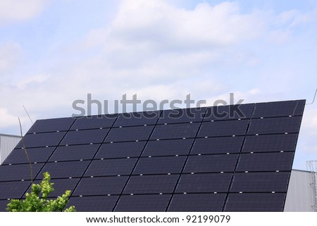 Solar Power Station in the green summer Nature - stock photo