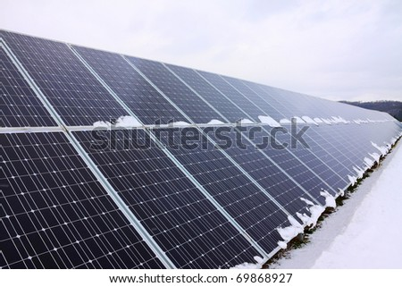 Solar Power Station in the snowy Nature
