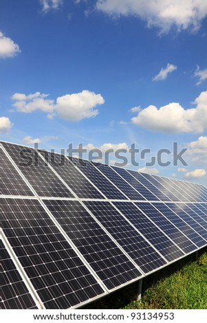 Solar Power Station in the summer Nature with blue Sky