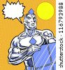 solar powered avenger comic book style character holding a solar panel - stock photo