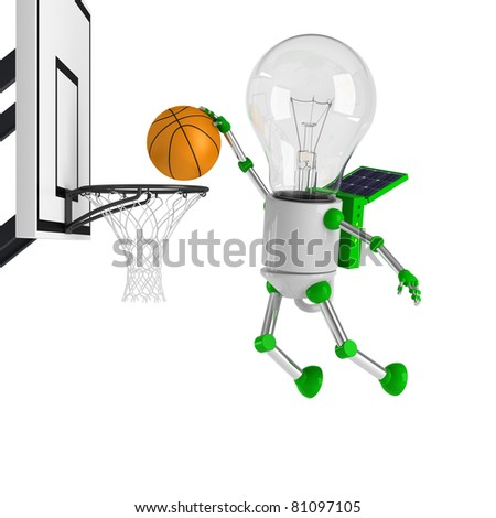 solar powered light bulb robot - basketball - stock photo