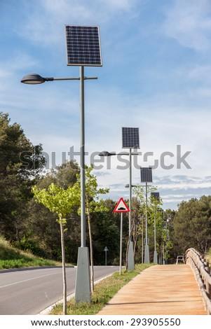 Solar powered street lamps - stock photo