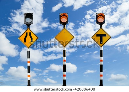 Solar powered traffic signs , traffic signs on blue sky background - stock photo