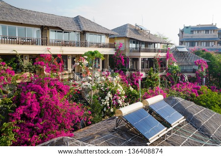 solar set for water heating at roof - stock photo