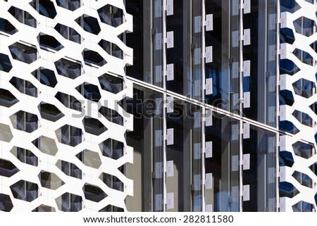 Solar shading in aluminum - stock photo
