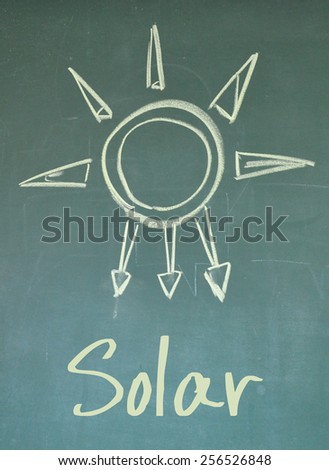 solar sign on blackboard - stock photo