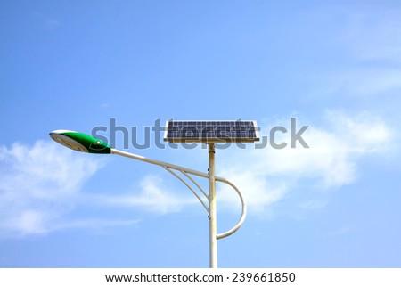 solar street lamps under the blue sky - stock photo