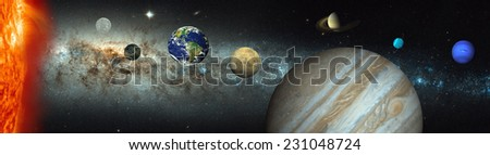 """Solar System against milky way""""Elements of this image furnished by NASA """"  - stock photo"""