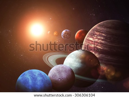 Solar system and space objects. Elements of this image furnished by NASA - stock photo