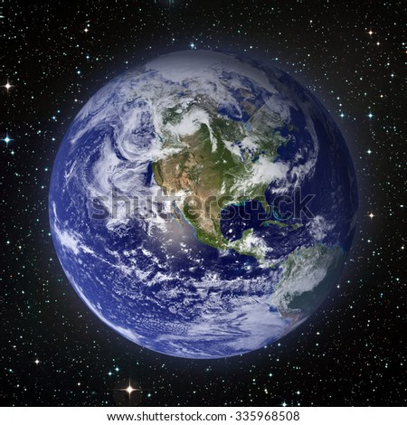Solar System - Planet Earth. Earth is the largest and densest of the inner planets. It has one natural satellite, the Moon. Elements of this image furnished by NASA. - stock photo