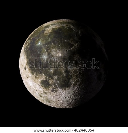 Solar system planet Moon on black background 3d rendering. Elements of this image furnished by NASA