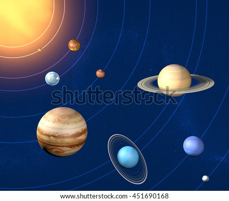 Solar system planets diameter and sizes. 3d rendering. Element of this image are furnished by Nasa - stock photo