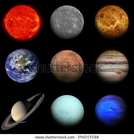 Solar system. Planets on black background. Sun, Mercury, Venus, Earth, Mars, Jupiter, Saturn, Uranus, Neptune. Elements of this image furnished by NASA. - stock photo