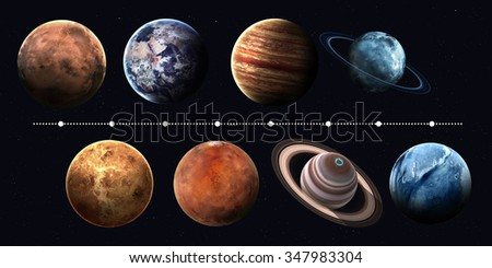 Solar system planets, pluto and sun in highest quality and resolution. Elements of this image furnished by NASA - stock photo