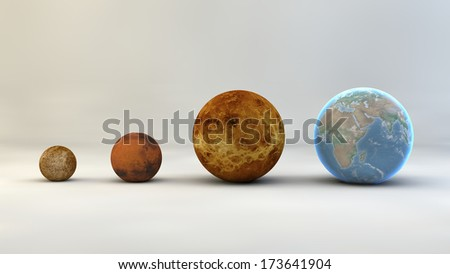 Solar System planets, sizes, dimensions - stock photo