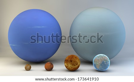 Solar System planets, sizes, dimensions