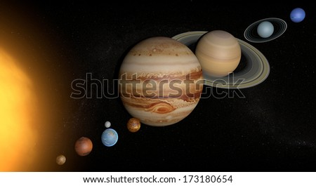Solar System planets space universe sun, elements of this image furnished by Nasa - stock photo
