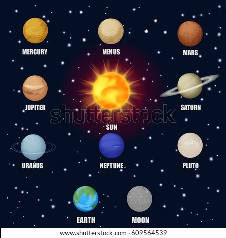 Solar system space planets sun astronomical stock for Outer space stage design