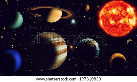 Solar system The sun and nine planets of our system orbiting Elements of this image furnished by NASA - stock photo