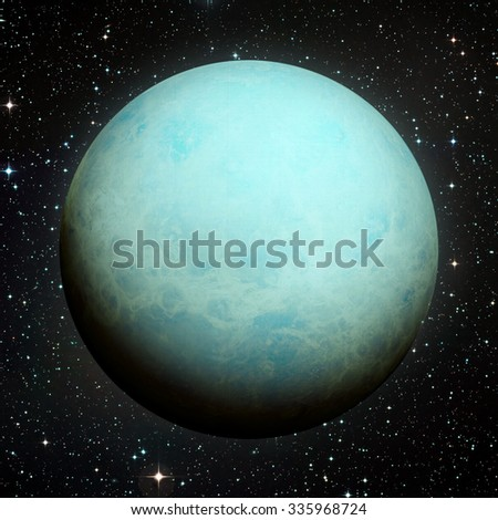 Solar System - Uranus. It is the seventh planet from the Sun and the third-largest in the Solar System. It is a giant planet. Uranus has 27 known satellites. Elements of this image furnished by NASA. - stock photo