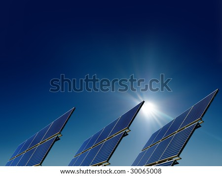 solar system with sun - stock photo