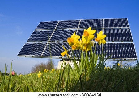 solar system with sun and flowers - stock photo